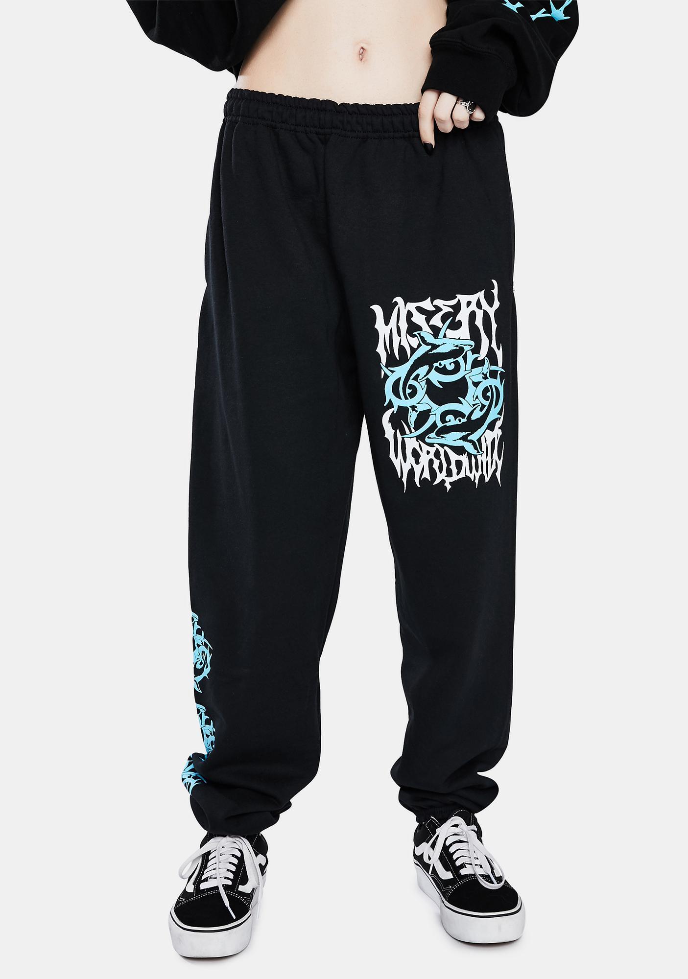 Misery Worldwide Black Los Delphines Sweatpants