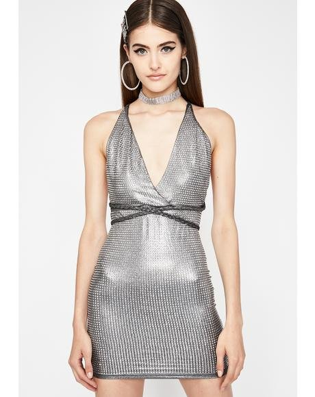 Dark High Class Hunty Metallic Dress