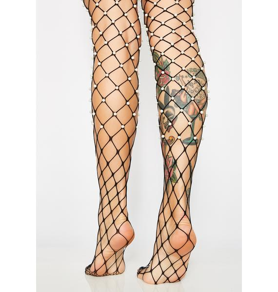 Mother Of Pearl Fishnet Tights