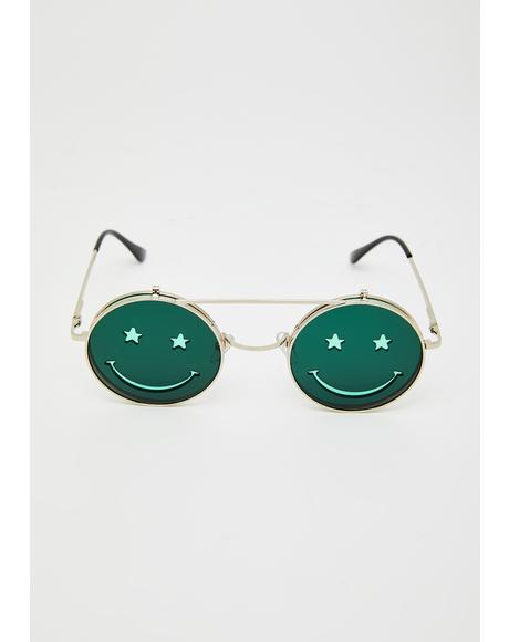 Cash Crazed Daze Smiley Sunglasses