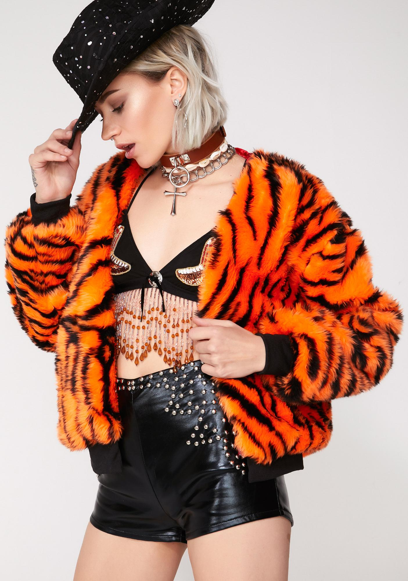 Nevada Clothing Faux Fur Tiger Bomber Jacket