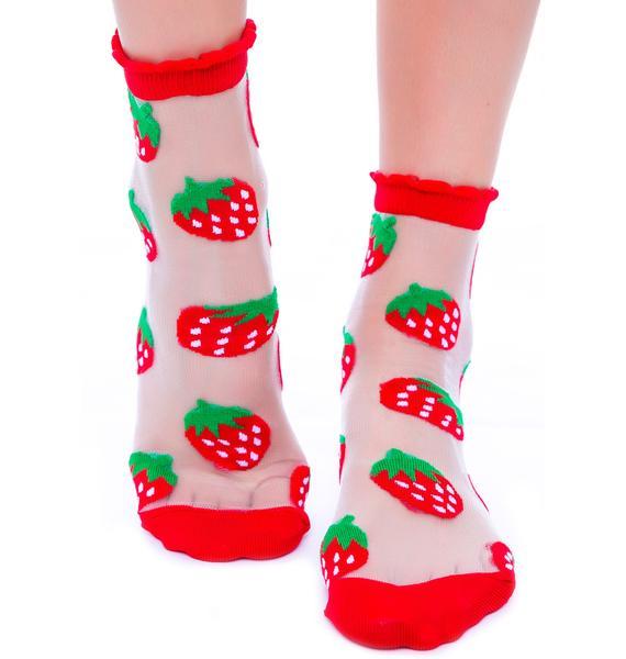 Strawberriws N' Cream See Thru Sock