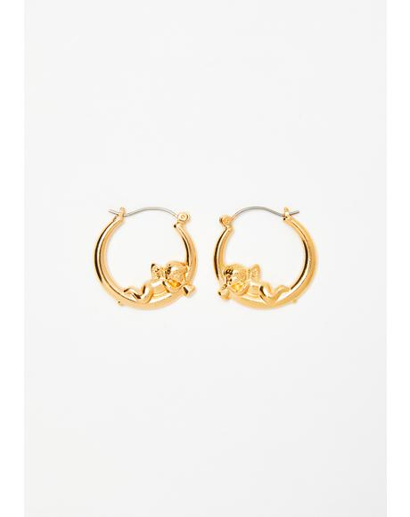 Bby Angel Love Hoop Earrings