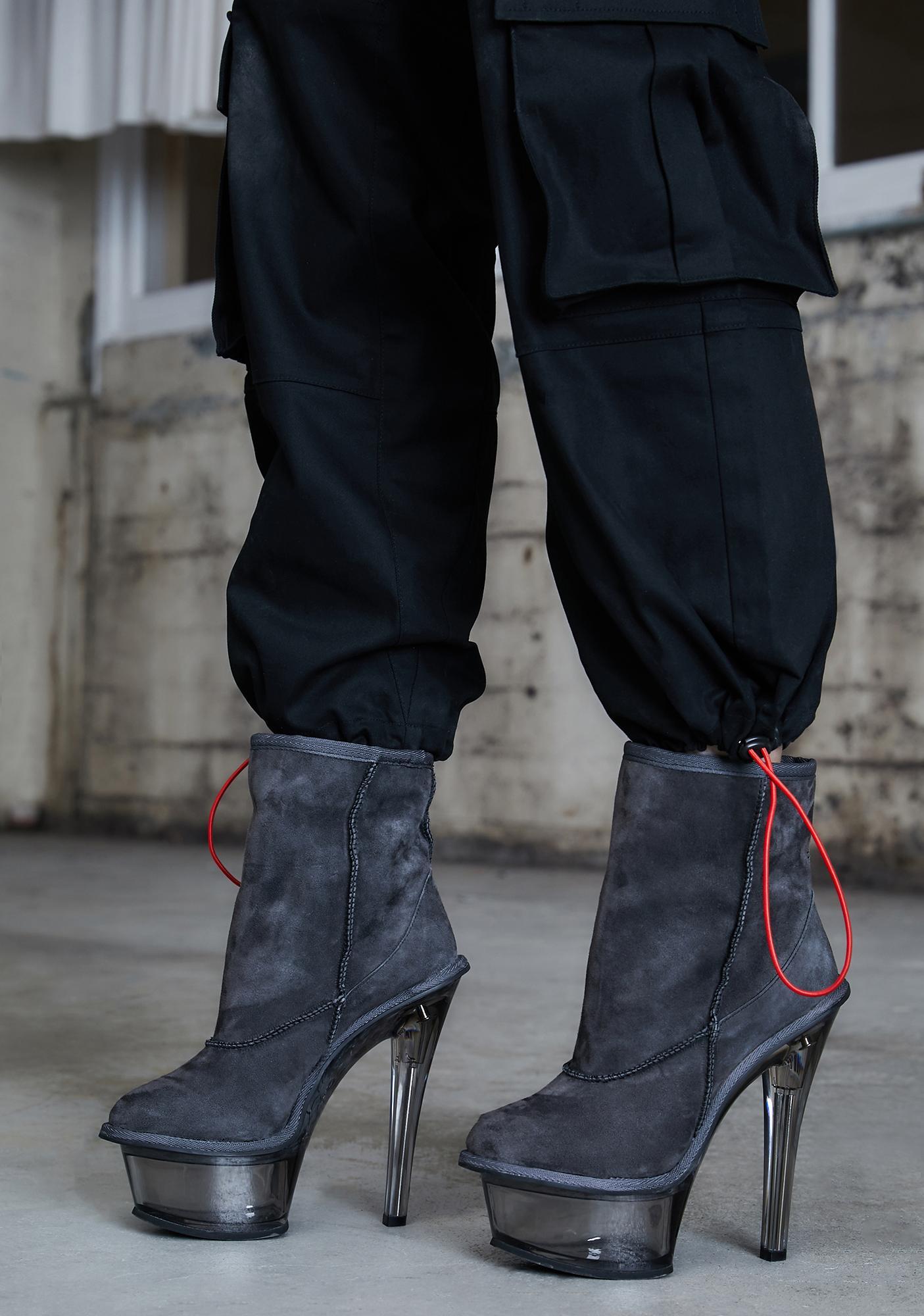 DARKER WAVS Kickdrum Suede Clear Platform Boots