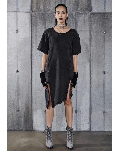 Snare Washed Black Double Slit Longline T-Shirt