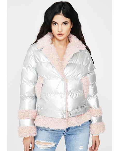 Peach Metallic Fuzzy Puffer Jacket