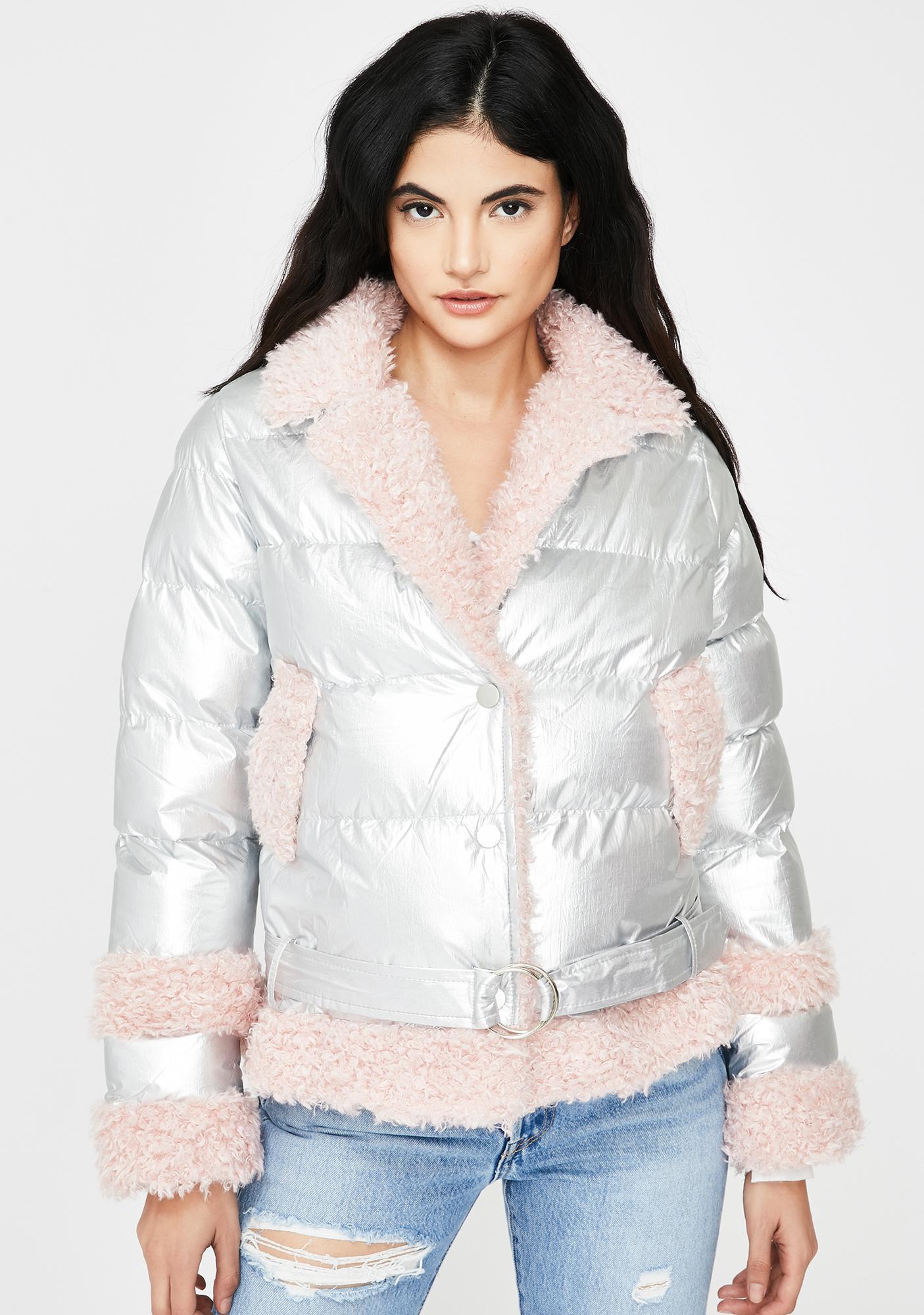 ZEMETA Peach Metallic Fuzzy Puffer Jacket