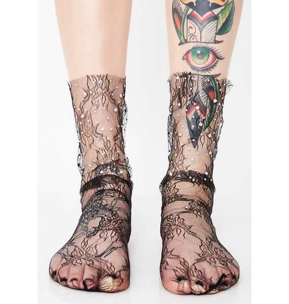 Sparkle Strut Lace Socks