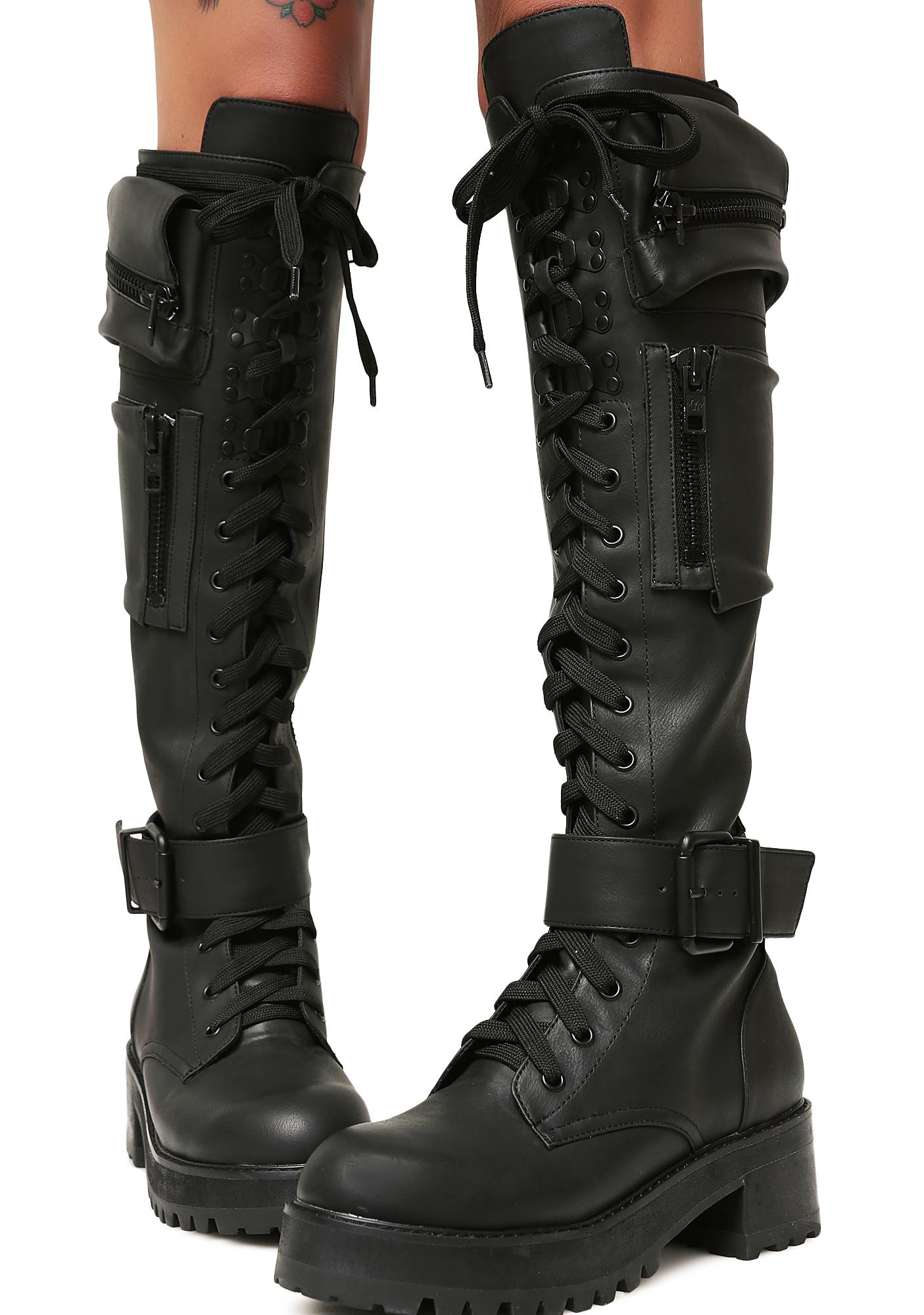 61d9f91e4f159 Current Mood Pocket Knee High Combat Boots | Dolls Kill