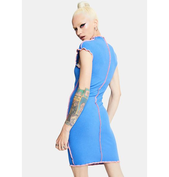 Royal God Of Mod Lettuce Trim Mini Dress