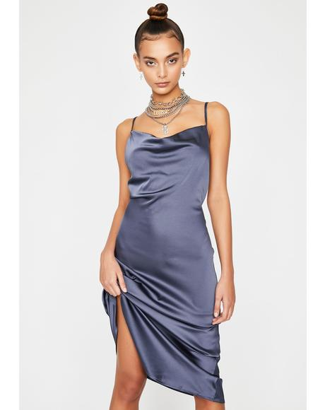 Silky Midnight Satin Dress