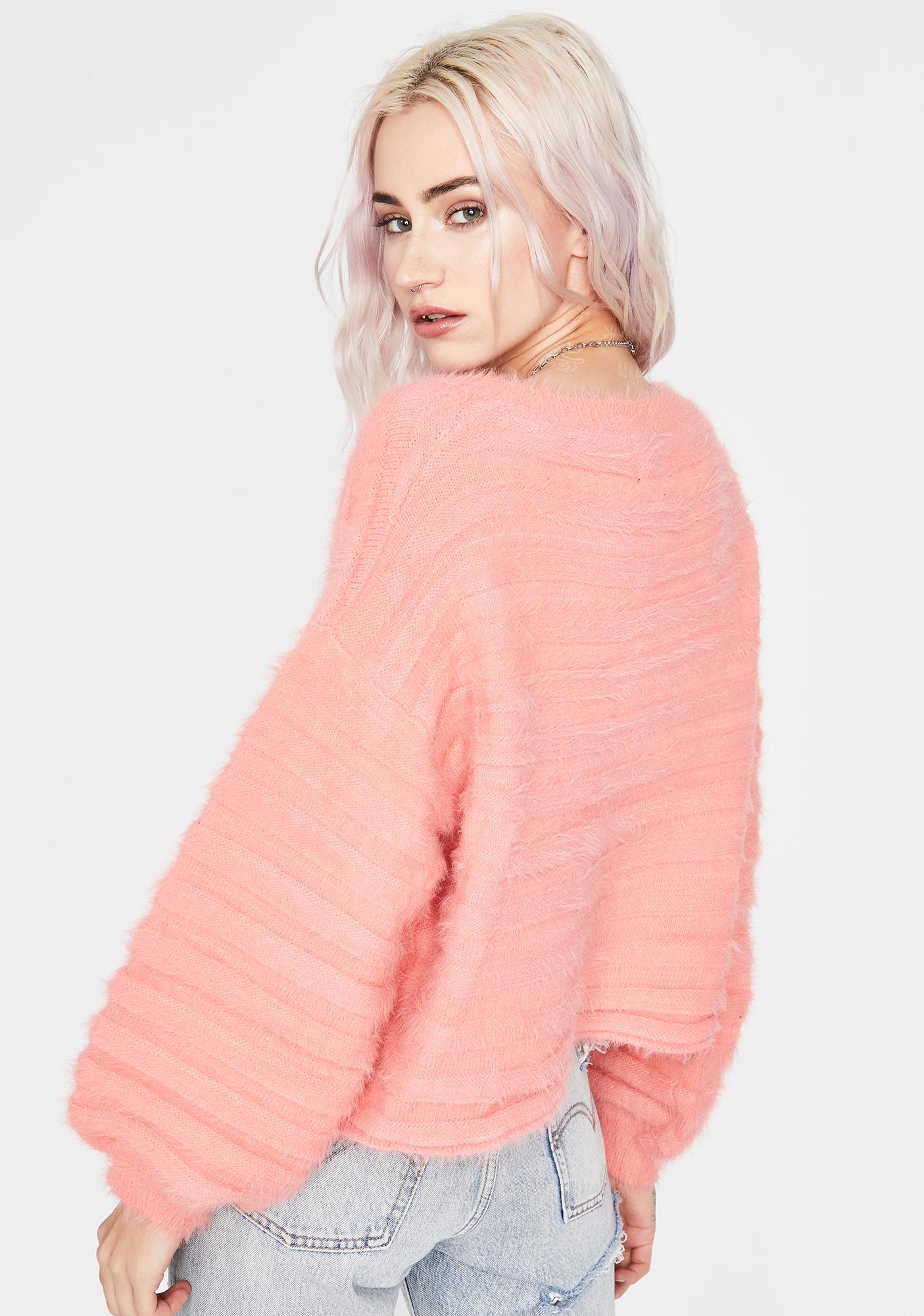 Coral Schoolgirl Crush Fuzzy Sweater