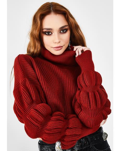 Dark Rust Puff Sleeve Turtleneck Sweater