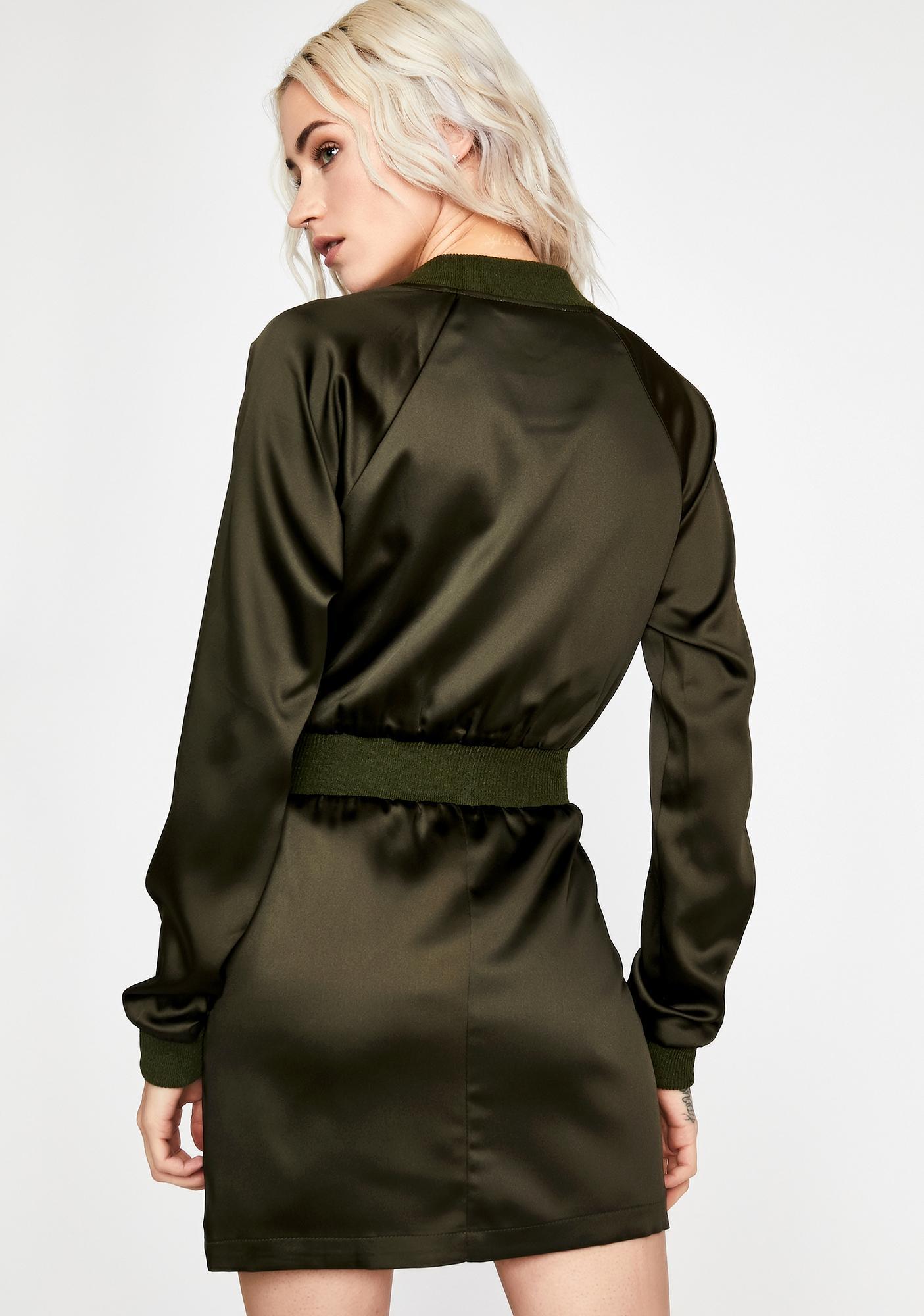 Olive Fierce Response Bomber Dress