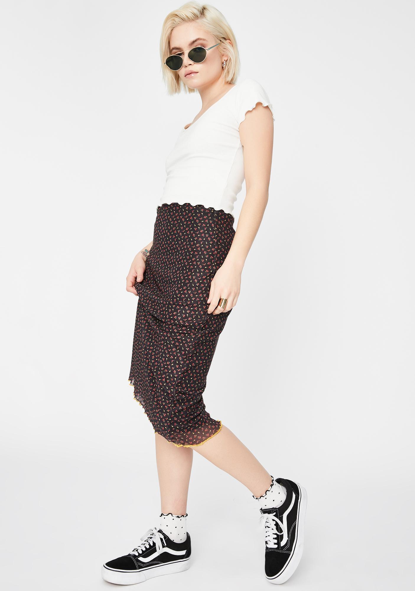 Daisy Street Black Floral Mesh Midi Skirt