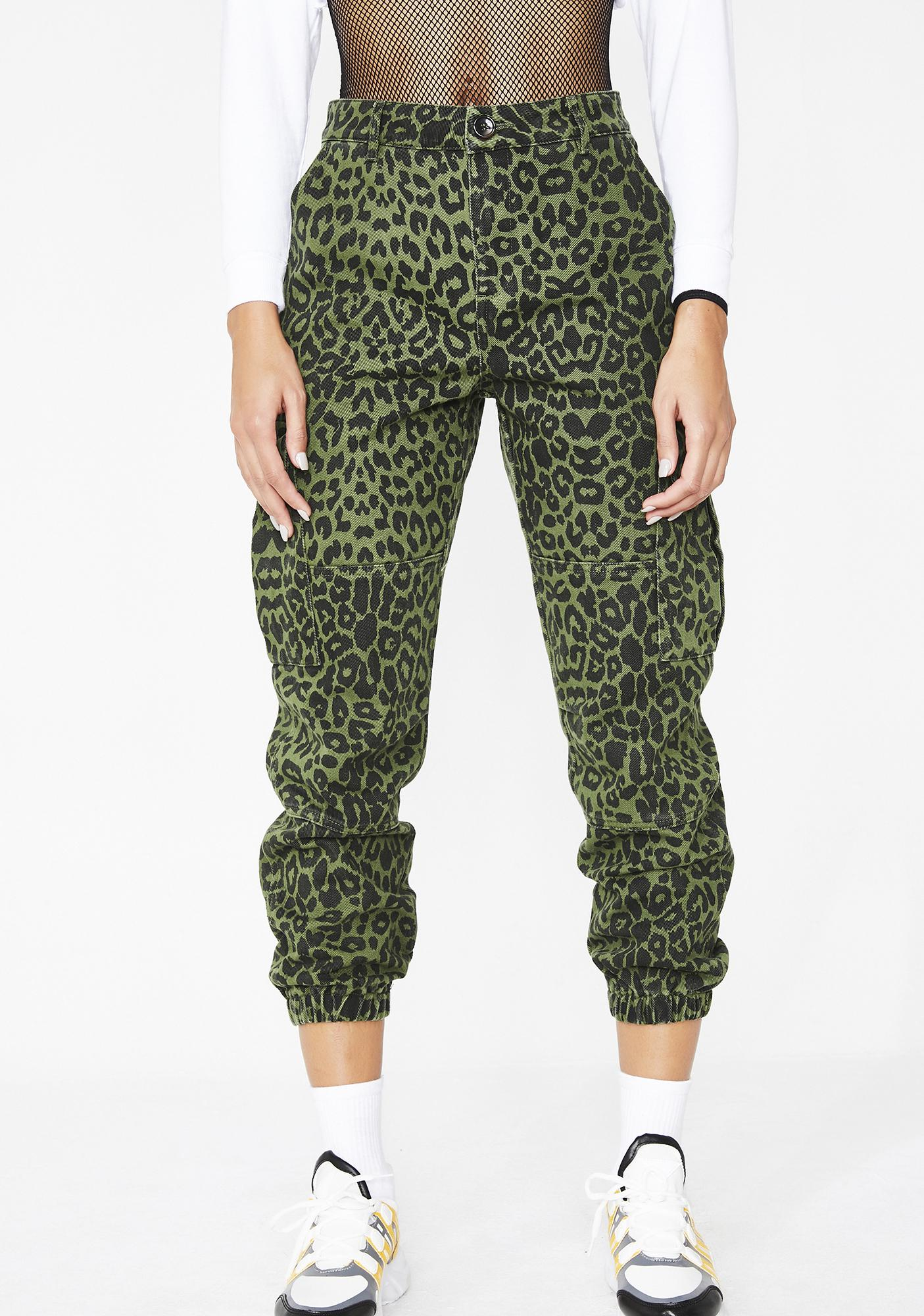 7f43d8b8428e51 Green Leopard Jogger Pants | Dolls Kill