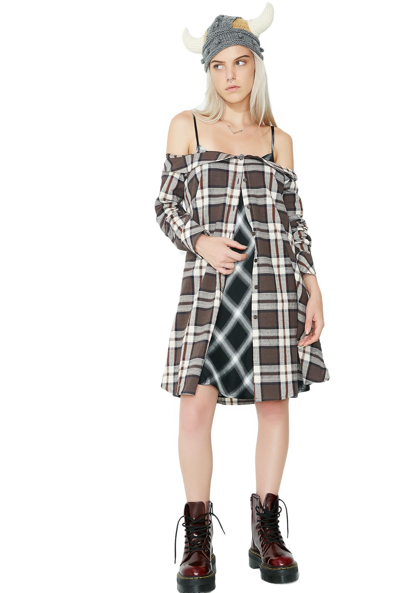 Glamorous Plaid Attack Button-Up Dress