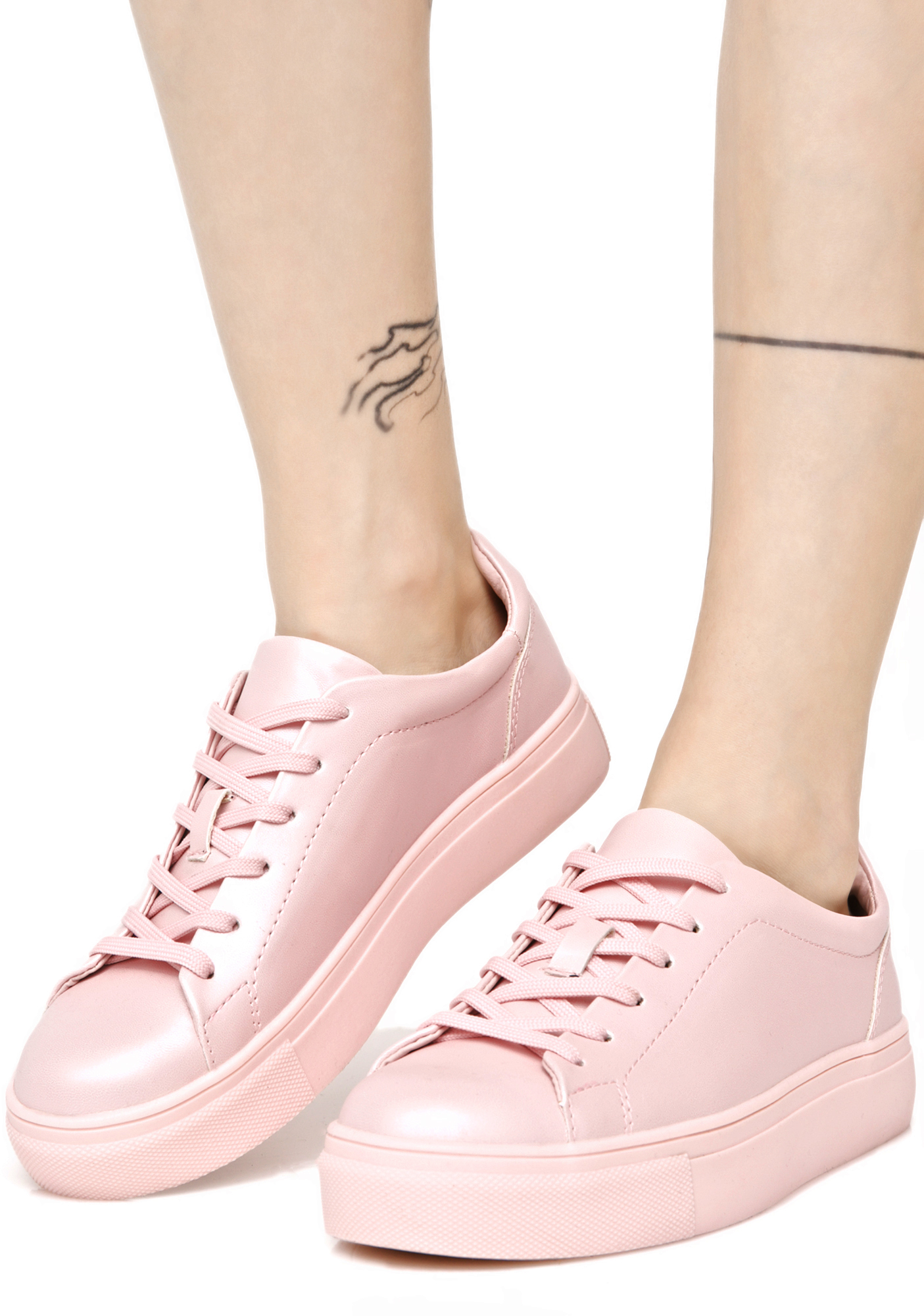 Pastel Pink Kawaii Pearlescent Shiny Sneakers