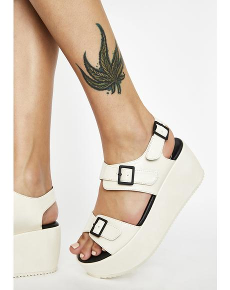 White Lori Platform Sandals