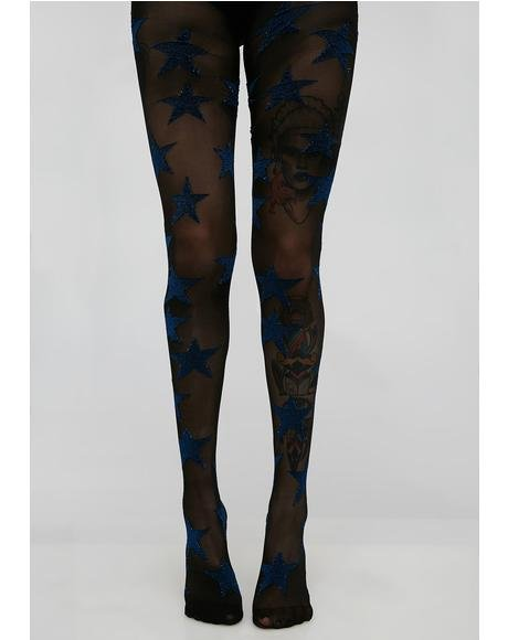 Sparkly Blue Star Tights
