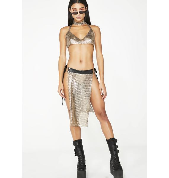 Club Exx Golden Armor Chainmail Skirt