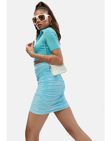 Aqua Talk Of The Town Mini Skirt