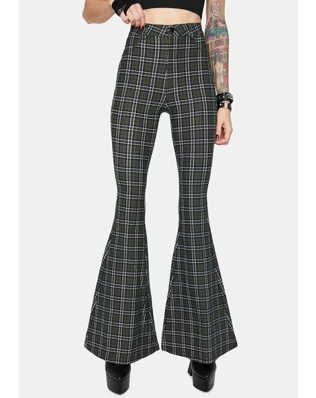 Olive Hip Check High Waisted Plaid Flares