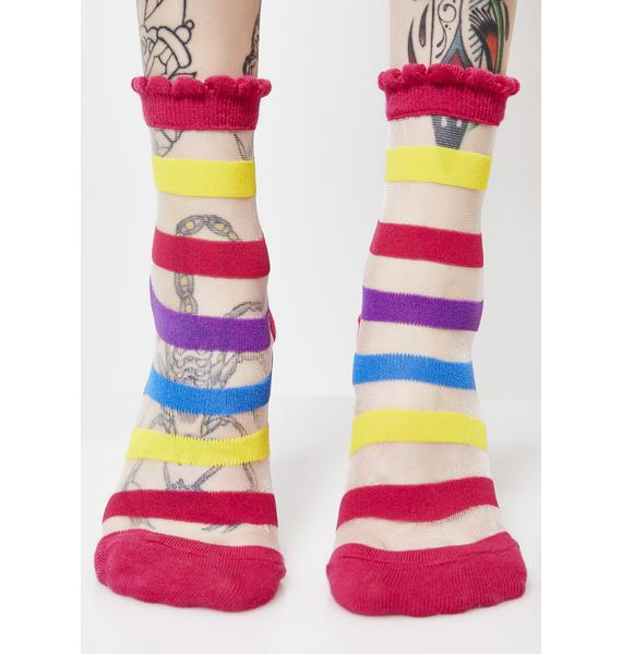 Walking On Rainbow Striped Socks
