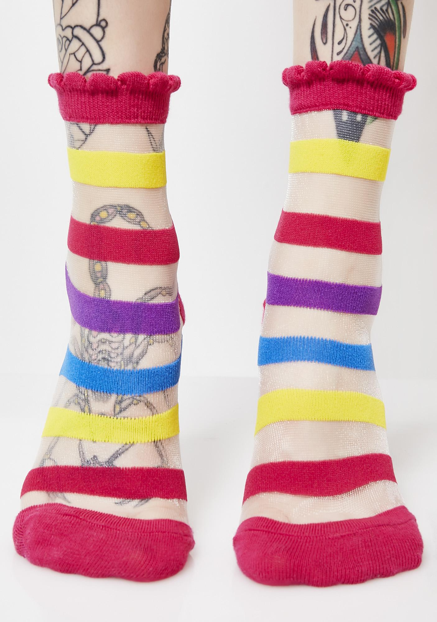 Walking On Rainbow Striped Socks