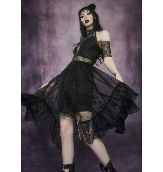 Widow Trick Of The Light Cold Shoulder Lace Dress
