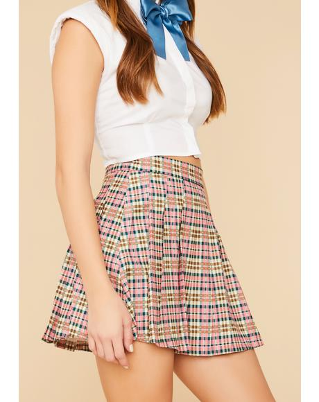 Rose Study Date Plaid Pleated Mini Skirt