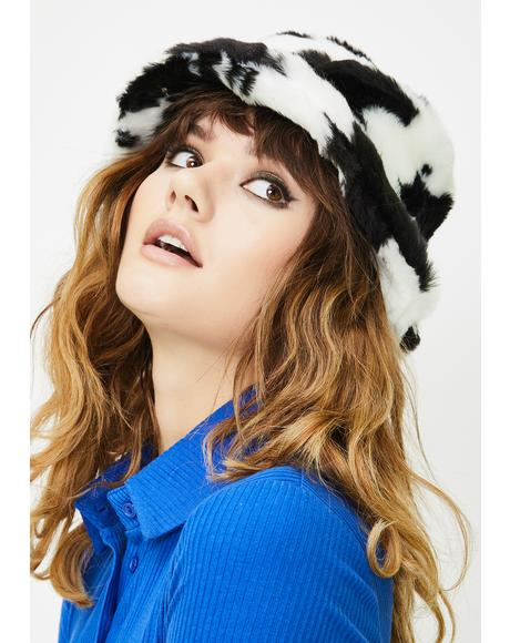 Retro Cow Fluffy Bucket Hat
