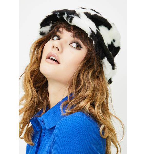 Glitter Disco Child Retro Cow Fluffy Bucket Hat