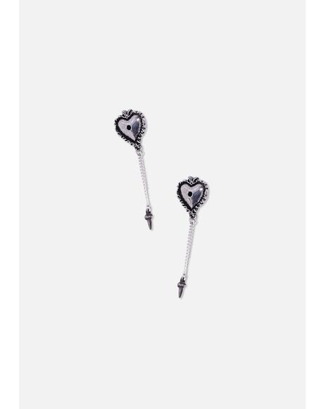 Witches Heart Drop Earrings