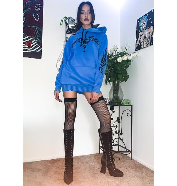 Current Mood Indigo Looking For Danger Hoodie Dress