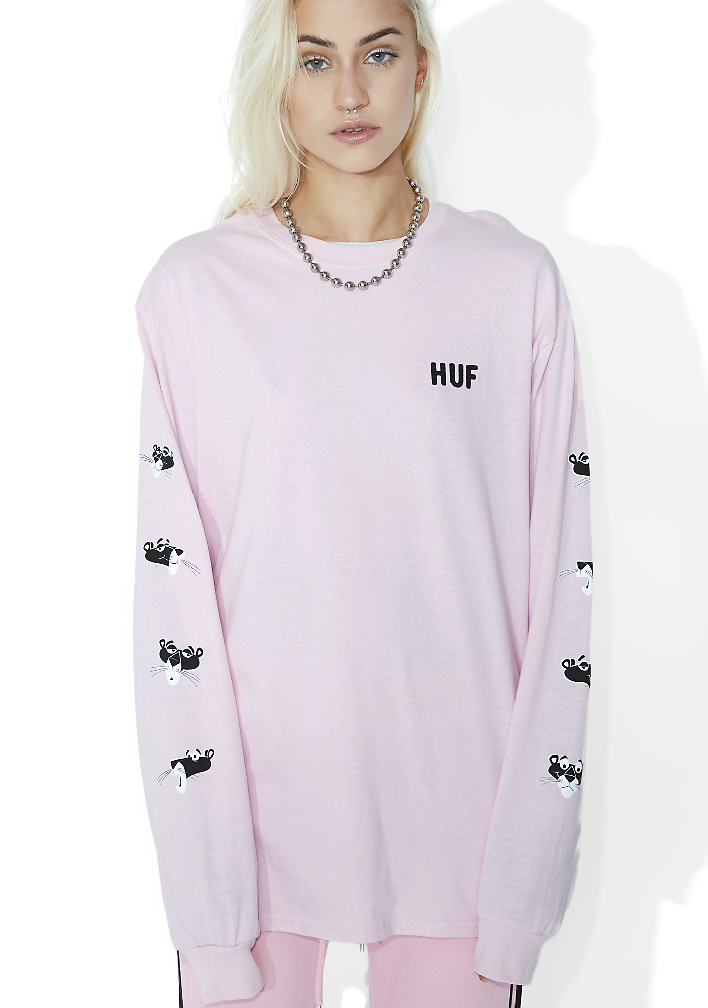 HUF x Pink Panther Heads Long Sleeve Tee