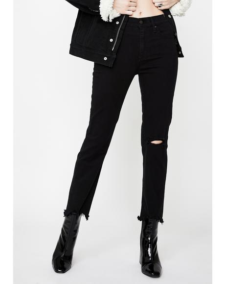 Black Pixel 724 High Rise Crop Jeans