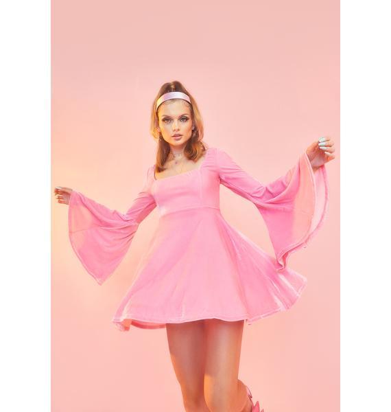 Sugar Thrillz Strike A Pose Bell Sleeve Dress