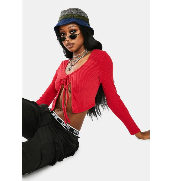 Hottie Make A Little Luv Cropped Cardigan