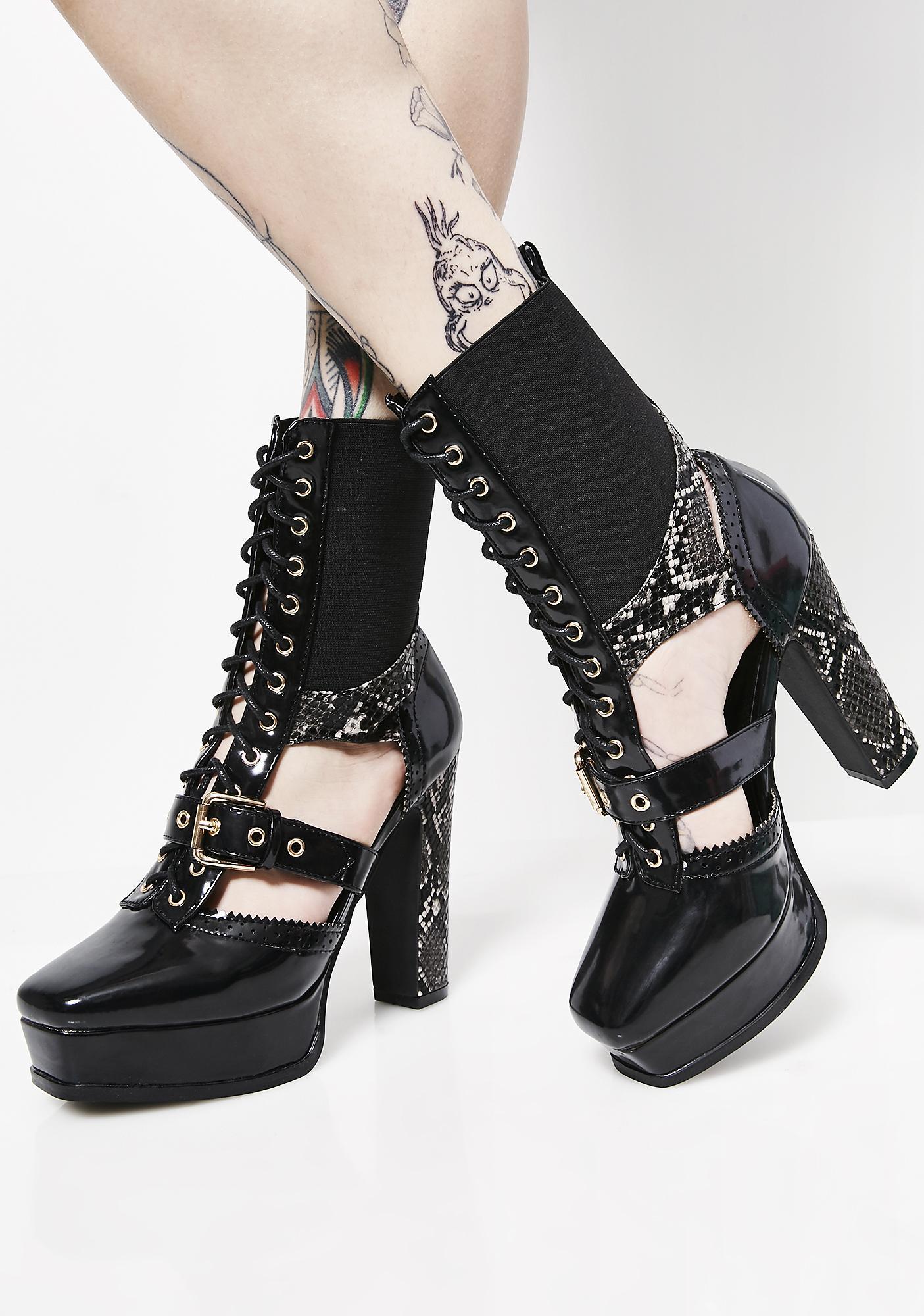 Onyx Power Tripp Cut-Out Heels