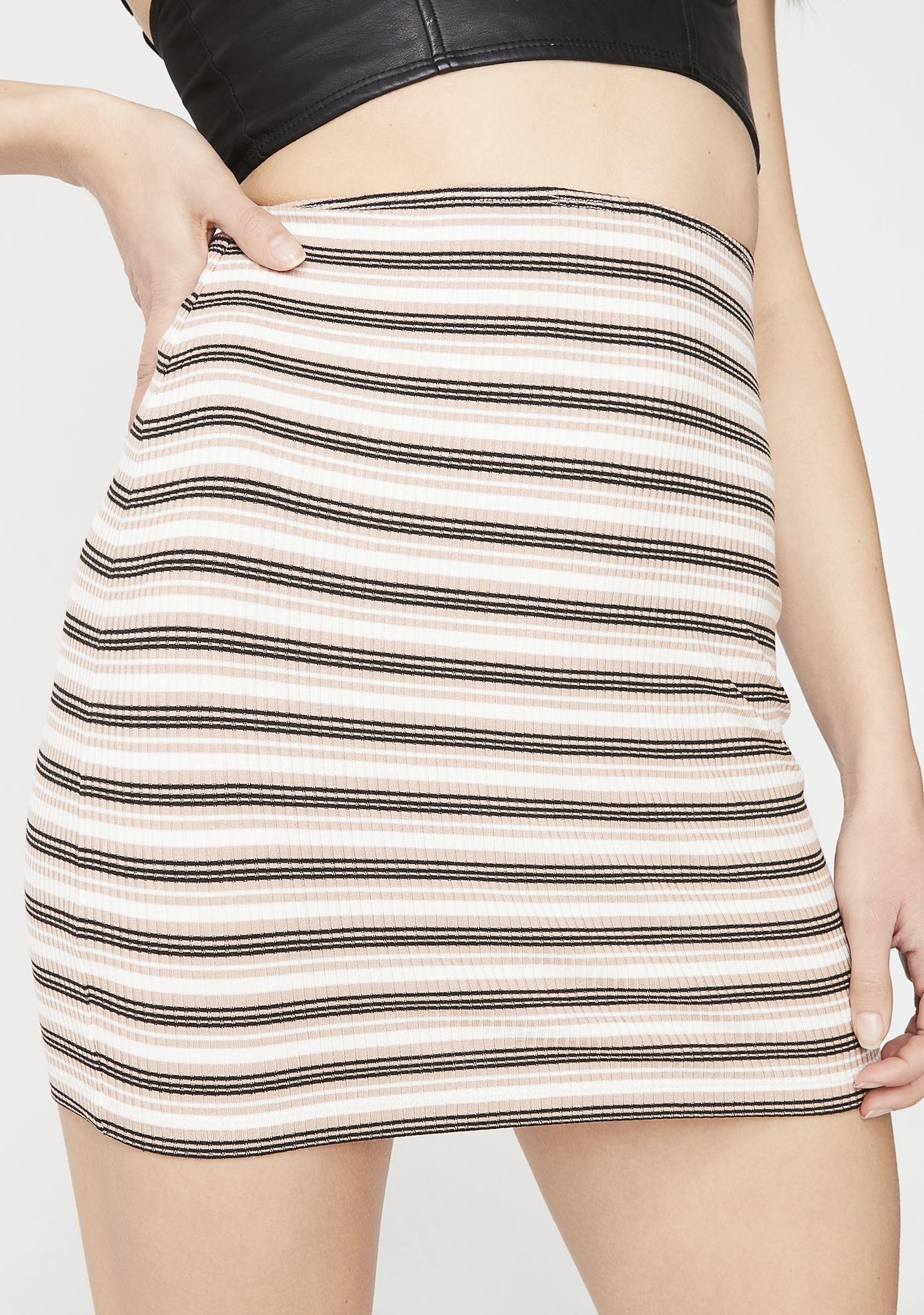 Motel Latte Kimmy Stripe Skirt