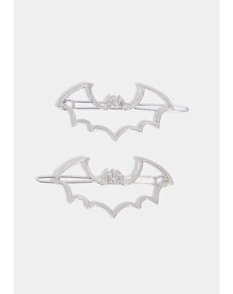 Bat Outline Hair Clips Pair