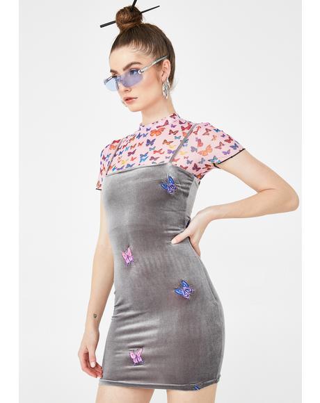 Velvet Butterfly Embroidered Dress