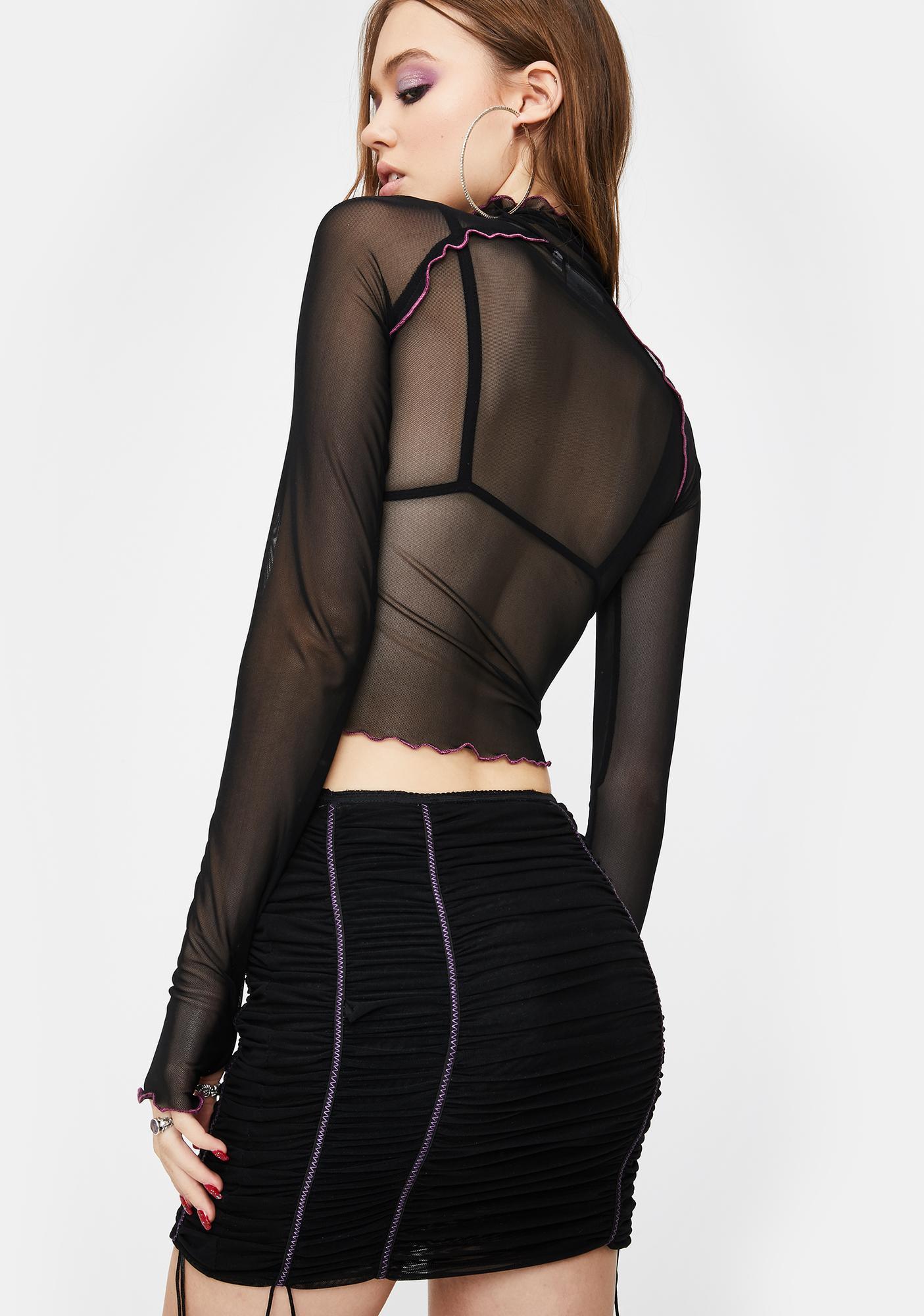 ZEMETA Black Mood Ruched Mini Skirt
