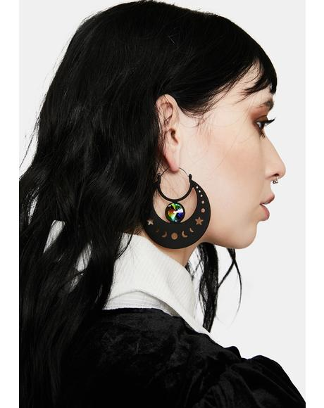 Phases Of The Moon Hoop Earrings