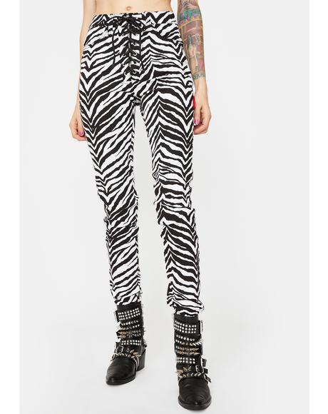 Zebra High Waist Tie Up Pants