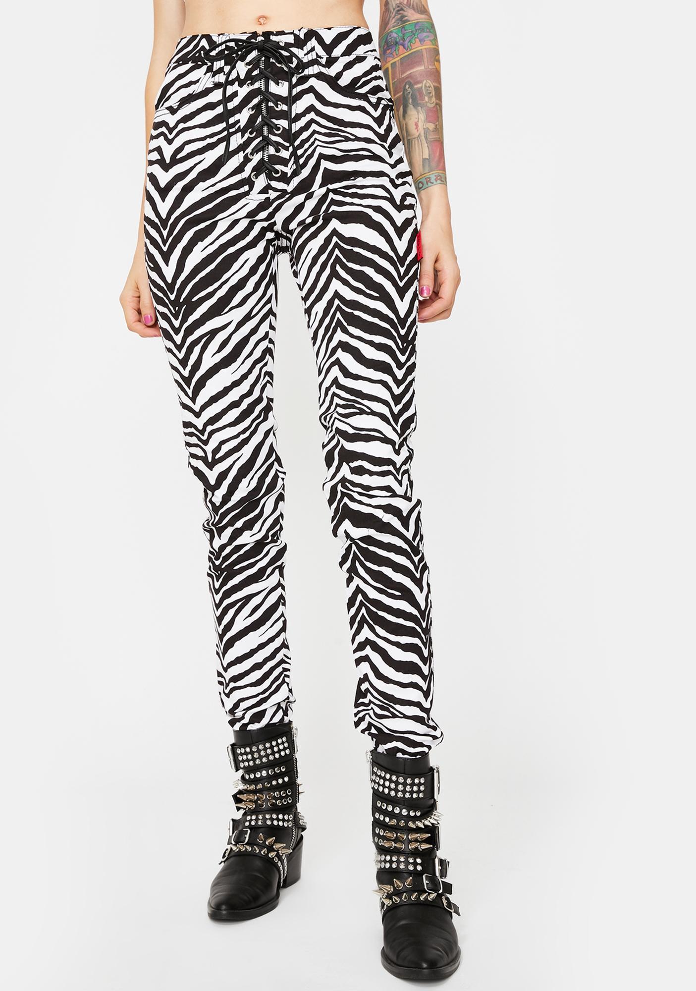 Tripp NYC Zebra High Waist Tie Up Pants