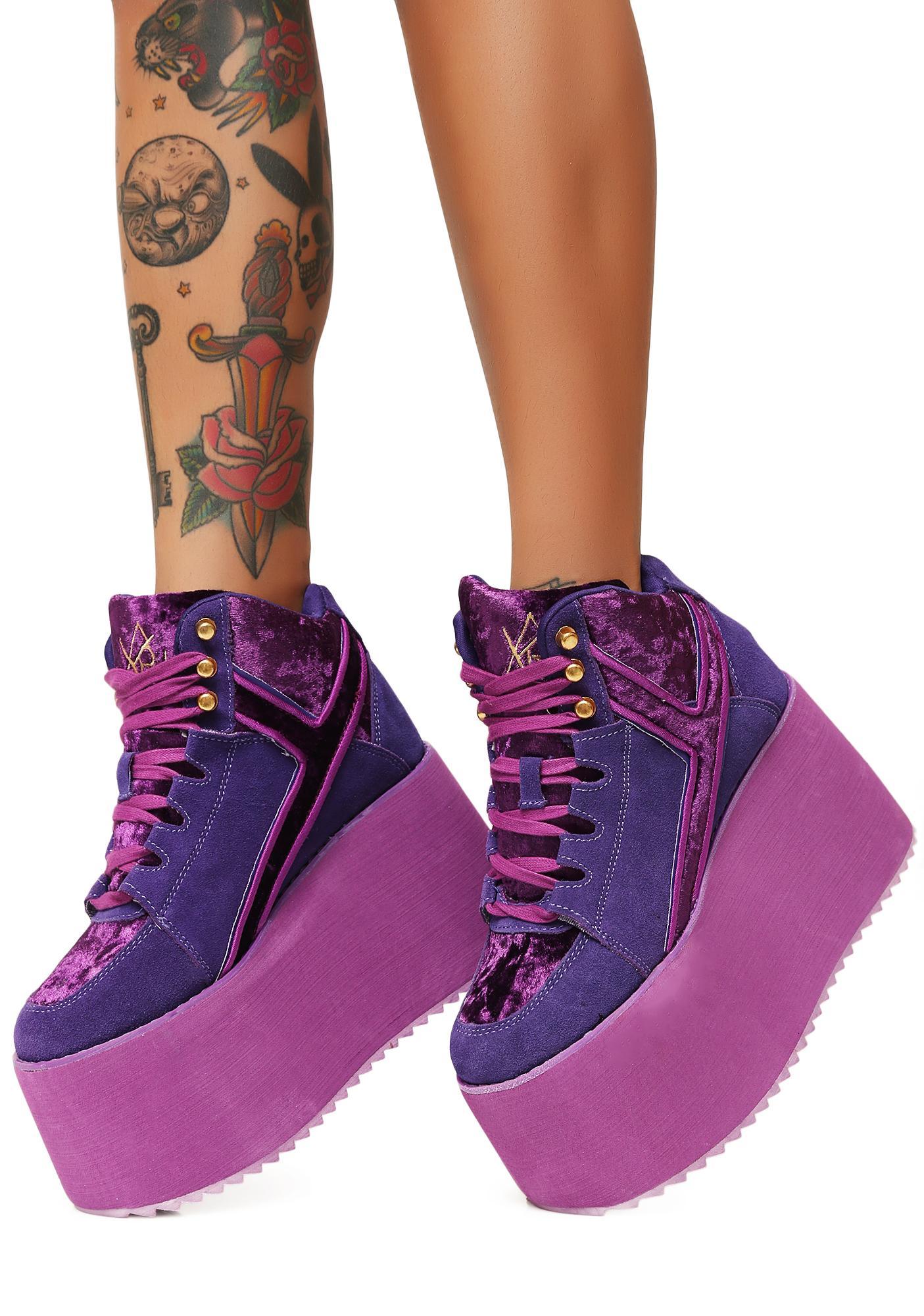 c9c6a09789 Y.R.U. Violet Qozmo 2 Platform Sneakers | Dolls Kill
