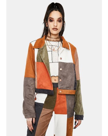 Mixed Patchwork Cord And Vegan Suede Jacket
