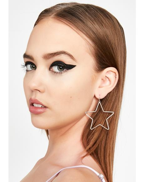 Chrome Super Nova Star Earrings